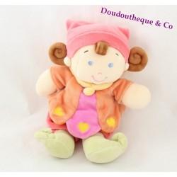 Doudou poupée lutin NICOTOY orange fille bonnet coeurs jaune 20 cm