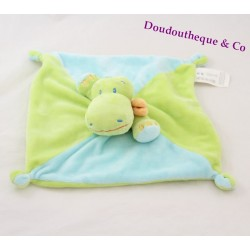 Doudou flat crocodile green and blue NICOTOY Kiabi 24 cm