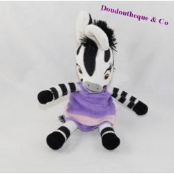 Peluche zèbre Famosa Zou série animé Elzée robe violette 21 cm