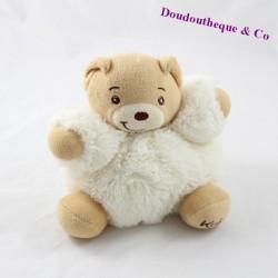 Doudou ours KALOO fourrure fur blanc 16 cm