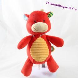 Doudou cow red yellow MINIMI 25 cm