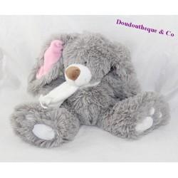 Plush rabbit ENESCO pink grey scarf 23 cm