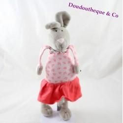 Peluche lapin BOUT'CHOU jupe rose imprimés fleuris Monoprix 38 cm