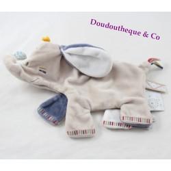 Doudou plat Bao éléphant NOUKIE'S Bao & Wapi bleu beige 27 cm