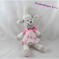 Peluche musicale mouton NICOTOY robe rose tortue 30 cm