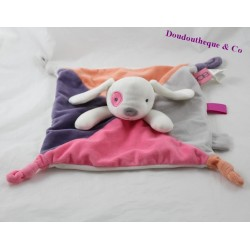 Doudou rabbit dish OBAÏBI pink purple orange grey black eye 4 knots 26 cm