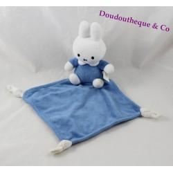 Doudou plat lapin Miffy TIAMO bleu losange blanc 38 cm