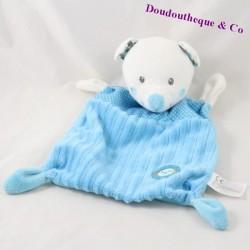Doudou plat ours NICOTOY Little Hug bleu pois oiseau 22 cm