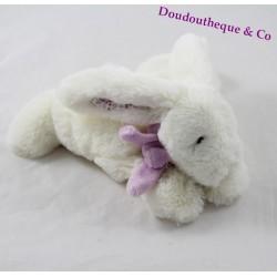 Peluche lapin JACADI blanc écharpe mauve oreilles fleuris 18 cm