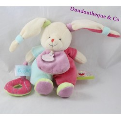 Plush of awakening rabbit BABY NAT' gluttony green blue pink 20 cm