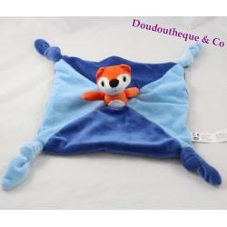 Doudou plat renard AUZOU Petit renard bleu 4 noeuds 25 cm