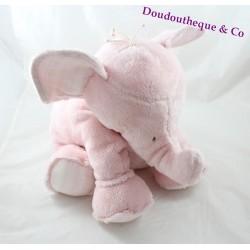 Doudou plat éléphant TARTINE ET CHOCOLAT rose 24 cm