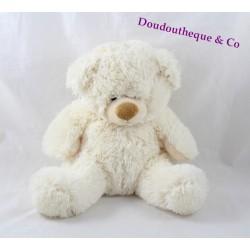 Peluche ours MAXITA blanc créme yeux billes 25 cm