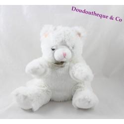 Doudou marionnette chat HISTOIRE D'OURS  blanc fourrure 20 cm