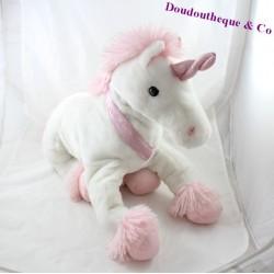 Peluche licorne MAX & SAX cheval magique blanc rose 45 cm