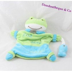 Doudou puppet BABY NAT' frog Zoe love swimming blue-green 23 cm
