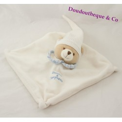 Doudou plat ours DOUDOU ET COMPAGNIE blanc col bleu 22 cm