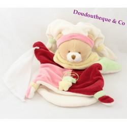 Doudou marionnette Myrtille ours DOUDOU & COMPAGNIE mouchoir étoiles rose rouge vert