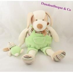 Doudou Copain chien DOUDOU ET COMPAGNIE vert avec bébé 30 cm