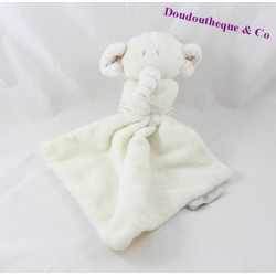 Doudou mouchoir éléphant MARKS & SPENCER beige rayures 16 cm