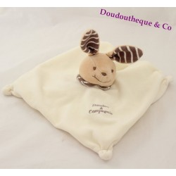 Doudou DOUDOU rabbit and company striped Brown square beige 20 cm dish