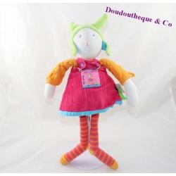 Peluche poupée MOULIN ROTY Colette et Pinpin robe rose 35 cm