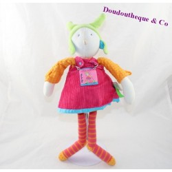 Plush doll MOULIN ROTY Colette and Pinpin dress pink 35 cm