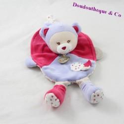 Doudou plat ours BABY NAT Capucine violet rose 26 cm