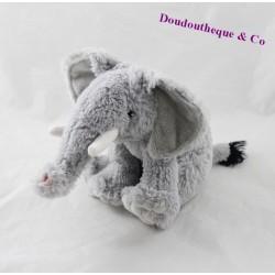 Peluche éléphant ECO-6 Ecosysaction gris assis 16 cm