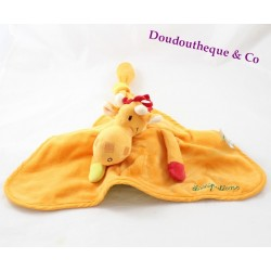 Doudou reversible Noémie the LILLIPUTIANS giraffe orange 40 cm green bird