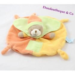 Doudou plat ours BABY NAT' Les mem pacap orange jaune vert 25 cm