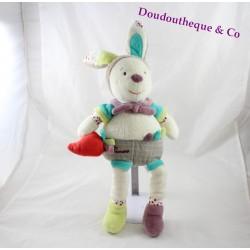 Francesco prugna verde beige bianco SAUTHON peluche coniglio carota 40cm
