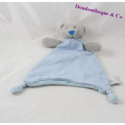Doudou plat ours MES PETITS CAILLOUX Stockomani bleu gris triangle 26 cm