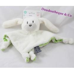 Doudou plat lapin ORCHESTRA Prémaman blanc vert pois rond 24 cm