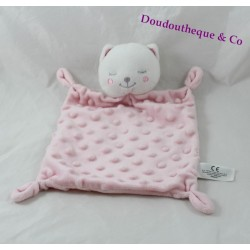 Doudou flat cat SIMBA TOYS square pink relief 28 cm