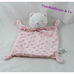 Doudou flat cat SIMBA TOYS square pink relief 28 cm