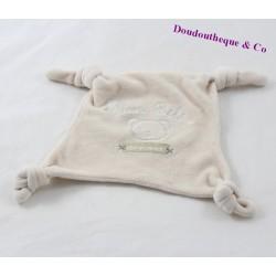 Bear flat Doudou GEMO baby soft beige square knots 16 cm