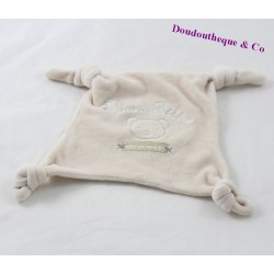 Doudou plat ours GÉMO Mon bébé douceur beige carré noeuds 16 cm