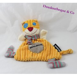 Doudou flat cat LES DEGLINGOS Rononos yellow orange 26 cm