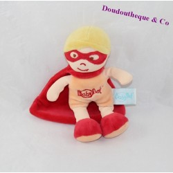 Doudou garçon BABY NAT' super héros orange rouge masque cape 18 cm