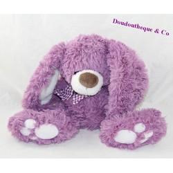 Peluche lapin ENESCO violet beige écharpe carreaux 21 cm