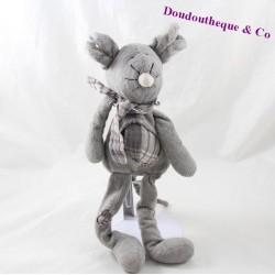 Doudou souris grise rapiécé carreaux écharpe 30 cm