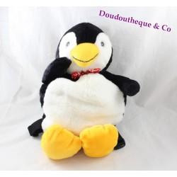 Sac à dos peluche pingouin noir blanc jaune 44 cm