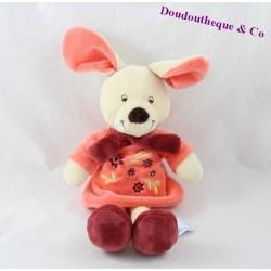 Doudou lapin VETIR Gemo robe rose fleurs 25 cm