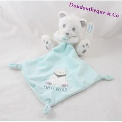 Doudou mouchoir ours SIMBA TOYS BENELUX Sweet Dream blanc bleu ours 14 cm