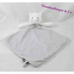 Doudou chat OBAIBI losange nuage gris blanc 35 cm