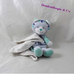 Doudou Tiger handkerchief sugar cashew blue green cat 19 cm