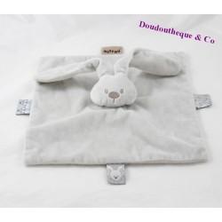 Doudou flat rabbit NATTOU Lapidou grey square 27 cm