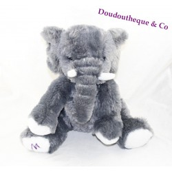 Plush elephant MARIONNAUD sitting grey 26 cm