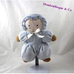 Poupée chiffon AJENA bleu noeud ruban grelot 24 cm